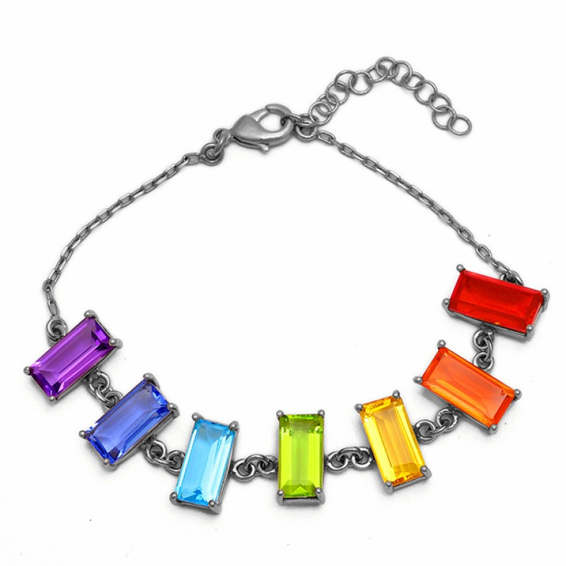 Rectangle Shape Multi Color Gemstone 925 Silver Gold Plated Bracelet