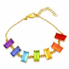 Rectangle Shape Multi Color Gemstone 925 Silver Gold Plated Bracelet