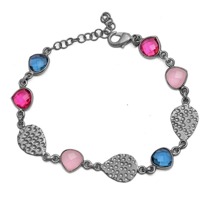 Tanzanite Pink Quartz Ruby Gemstone 925 Silver Gold Plated Bracelet