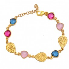 Tanzanite Pink Quartz Ruby Gemstone 925 Silver Gold Plated Bracelet