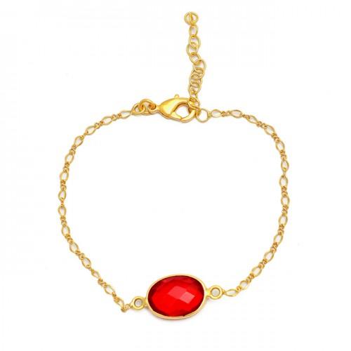 Oval Shape Fanta Quartz Gemstone 925 Sterling Silver Gold Plated Bracelet