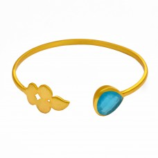 Design Aqua chalcedony sterling silver gold plated bangle jewelry