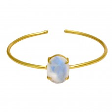 Rainbow moonstone oval sterling silver gold plated bangle
