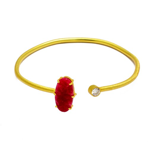 Designer Ruby & Cz sterling silver gold plated bangle jewelry