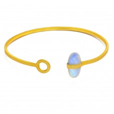 Blue Fire Rainbow moonstone sterling silver gold plated bangle jewelry