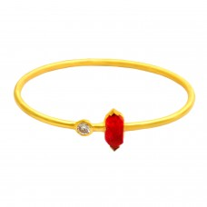 Fashionable Ruby & Cz sterling silver gold plated bangle jewelry