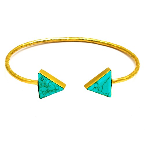 Matrix Turquoise trianlge sterling silver gold plated bangle jewelry