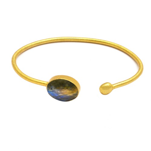 Blue Grey Labradorite sterling silver gold plated bangle jewelry