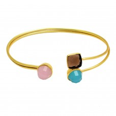 Smoky quartz, Aqua chalcedony & Rose chalcedony sterling silver gold plated bangle