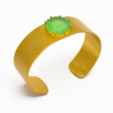Prehnite Chalcedony hexagon sterling silver gold plated bangle