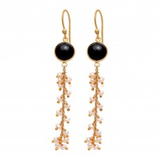 925 Sterling Silver Jewelry  Round Shape Black Onyx & Pearl  Gemstone Gold Plated Earrings