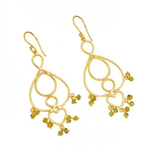 925 Sterling Silver Peridot Roundel Beads Shape Gemstone Gold Plated Earrings