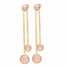 Bezel Setting Chalcedony Pearl Gemstone 925 Sterling Silver Chain Hanging Stud Earrings