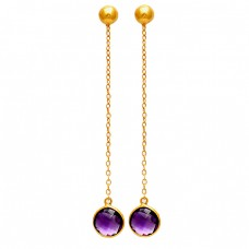 Hanging Chain Designer Purple Amethyst Round Gemstone Gold Plated Earrings