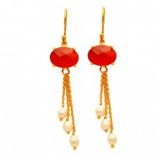 Designer Red Onyx Pearl Gemstone Hanging Chain 925 Silver Gold Plated Dangle Earrrings