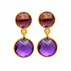 Amethyst Round Shape Gemstone 925 Sterling Silver Gold Plated Bezel Setting Earrings