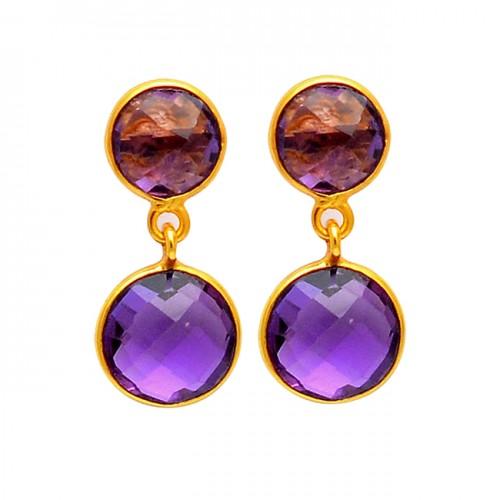 Amethyst Round Shape Gemstone 925 Sterling Silver Gold Plated Bezel Setting Earrings