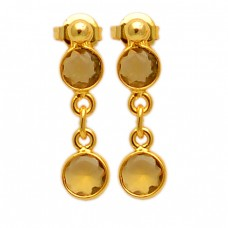 Latest Unique Designer Citrine Round Shape Gemstone Gold Plated Stud Earrings