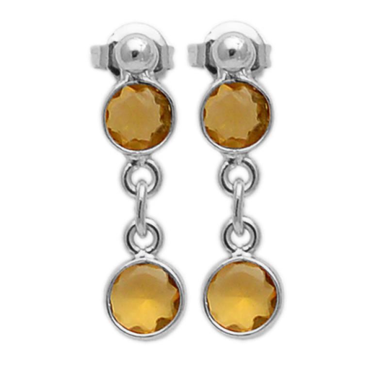 Latest Unique Designer Citrine Round Shape Gemstone Gold Plated Stud Earrings