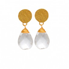 925 Sterlig Silver Crystal Pear Shape Gemstone Gold Plated Hammered Stud Earrings