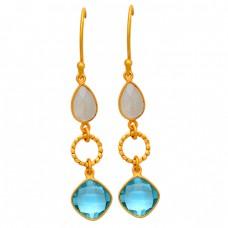 Rainbow Moonstone Topaz Gemstone 925 Sterling Silver Gold Plated Dangle Earrings