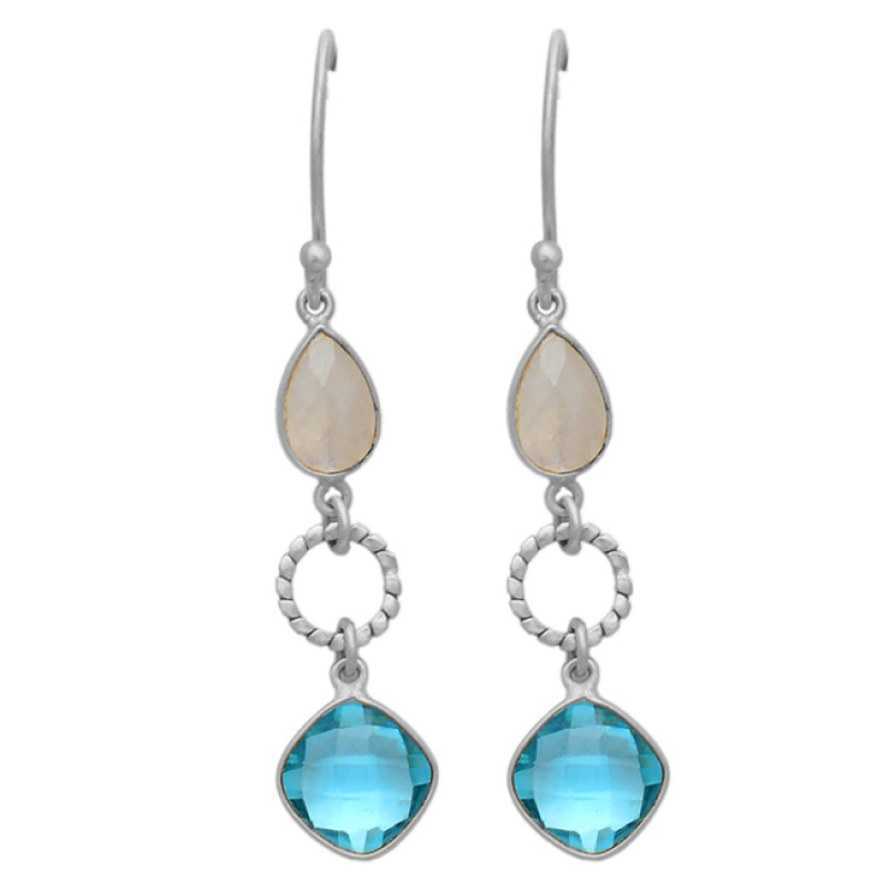 Rainbow Moonstone Topaz Gemstone 925 Sterling Silver Gold Plated Dangle Earrings