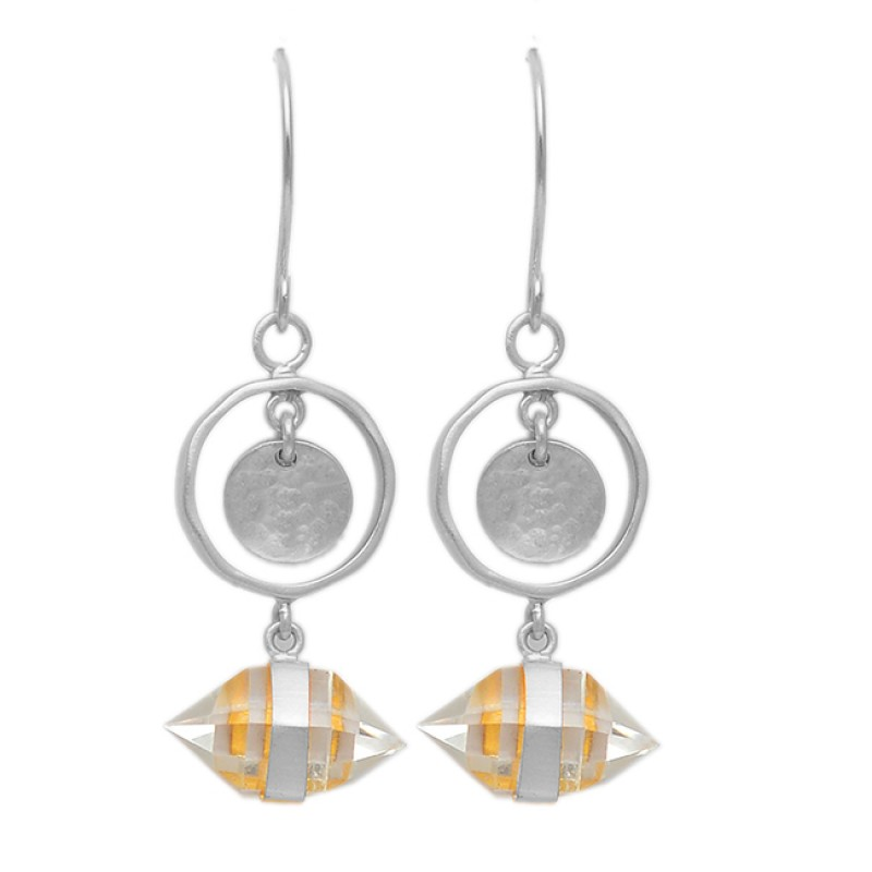 Pencil Shape Crystal Quartz Gemstone 925 Sterling Silver Gold Plated Dangle Earrings