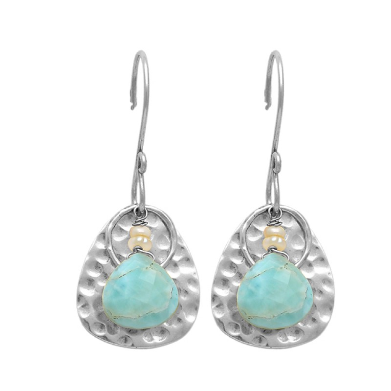 Larimar Pearl Gemstone 925 Sterling Silver Gold Plated Hammered Designer Earrings