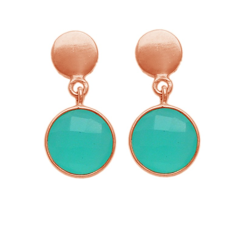 Round Shape Aqua Chalcedony Gemstone 925 Sterling Silver Gold Plated Stud Earrings