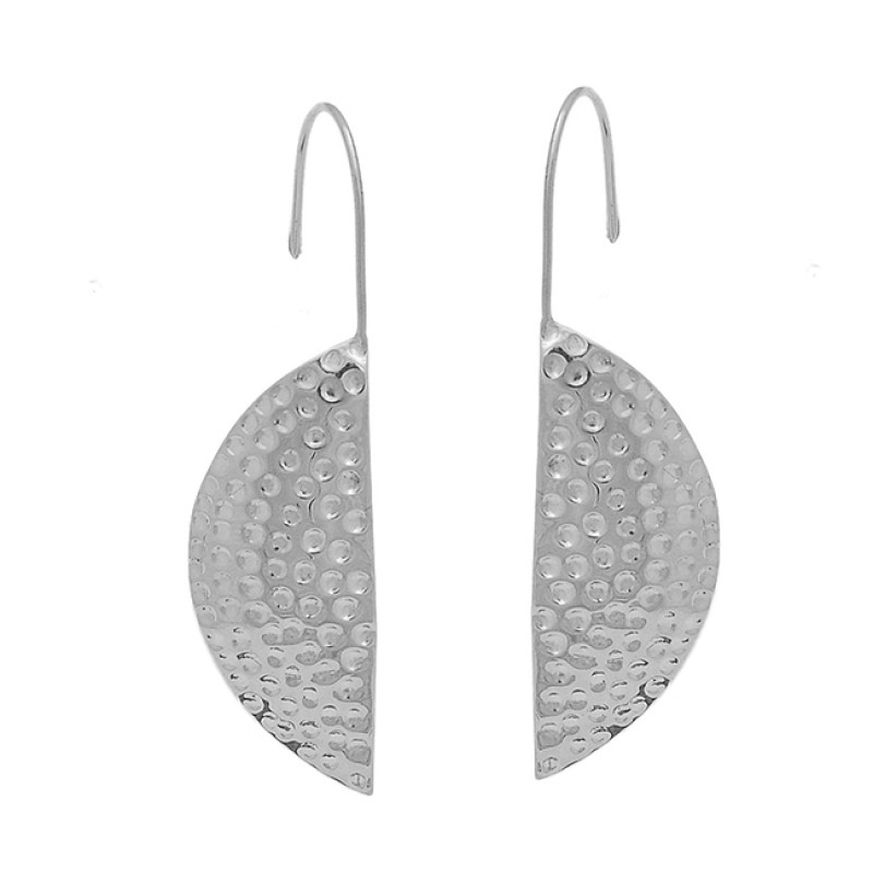 D Shape Designer Plain 925 Sterling Silver Gold Plated Fixed Ear Wire Earrings
