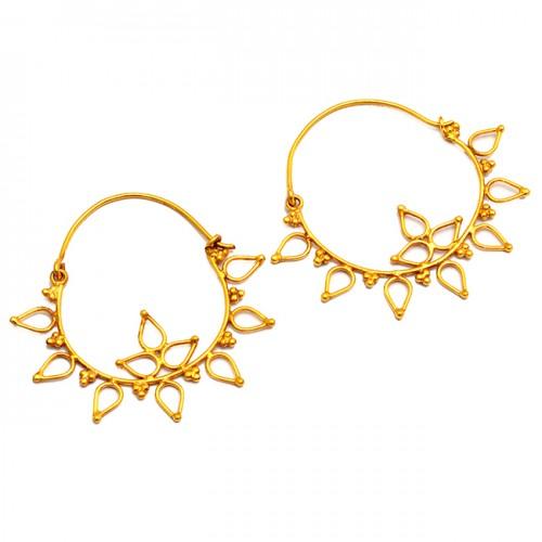 Flower Shape Handmade Plain Designer 925 Sterling Silver Gold Plated Hoop Earrings