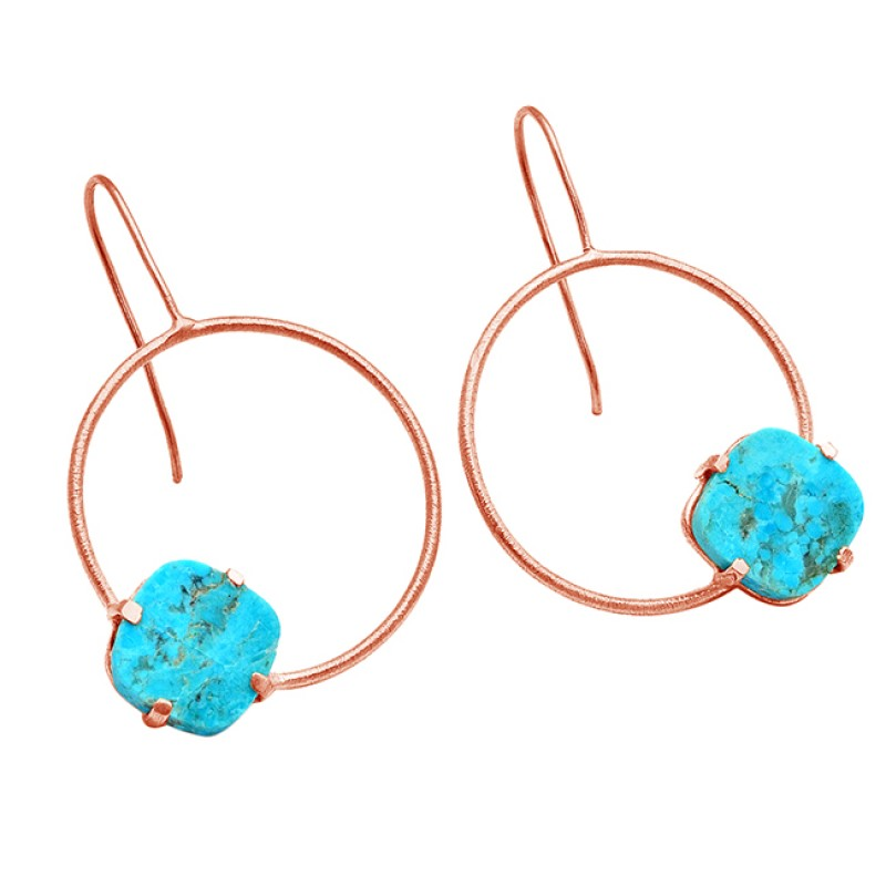 Stylish Blue Turquoise Cushion Shape Gemstone 925 Silver Gold Plated Earrings