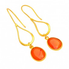Unique Carnelian Faceted Oval Gemstone 925 Silver Gold Plated Dangle Earrings