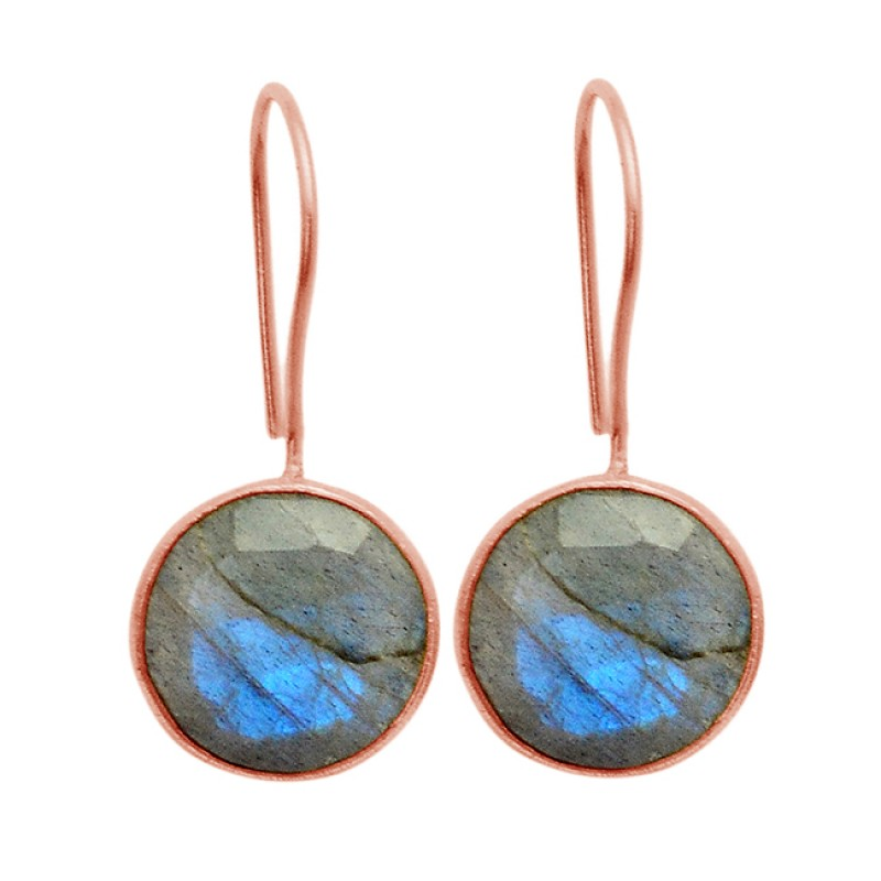 Labradorite Round Shape Gemstone 925 Sterling Silver Gold Plated Fixed Ear Wire Earrings
