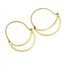 925 Sterling Silver Handcrafted Designer Plain Gold Plated Hoop Earrings