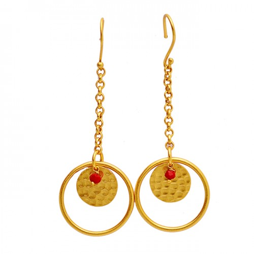 Attractive Faceted Rondelle Beads Ruby Gemstone Gold Plated Dangle Earrings