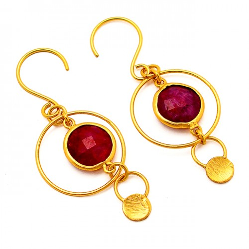 Designer Red Ruby Round Shape Gemstone 925 Silver Gold Plated Dangle Earrrings