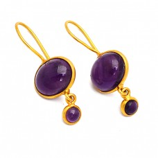 Cabochon Oval Round Amethyst Gemstone Fixed Ear Wire Gold Plated Earrings