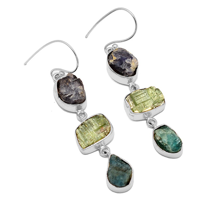 Raw Material Iolite Peridot Apatite Rough Gemstone 925 Silver Gold Plated Earrings