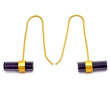 Barrrel Shape Amethyst Gemstone 925 Sterling Silver Gold Plated Hoop Earrings