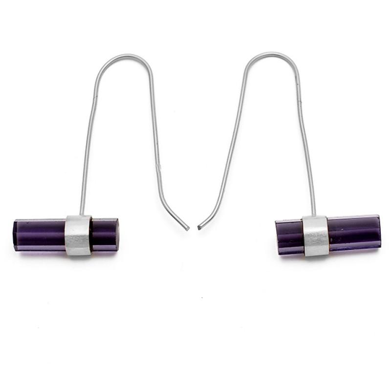 Barrrel Shape Amethyst Gemstone 925 Sterling Silver Gold Plated Hoop Earrings