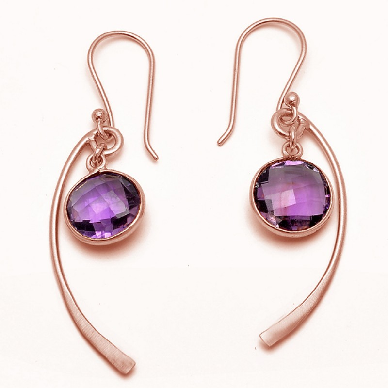 Handmade Designer Amethyst Round Shape Gemstone Gold Plated Earrings Jewelry