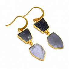 Fancy Shape Iolite Gemstone 925 Sterling Silver Gold Plated Handmade Dangle Earrings
