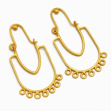 Handcrafted Designer Plain Unique 925 Sterling Silver Gold Plated Hoop Dangle Earrings
