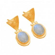 Oval Shape Rainbow Moonstone 925 Sterling Silver Gold Plated Designer Stud Earrings