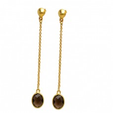 Oval Shape Smoky Quartz Gemstone 925 Sterling Silver Gold Plated Stud Dangle Earrings