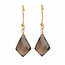 Fancy Shape Smoky Quartz Gemstone 925 Sterling Silver Gold Plated Dangle Earrings