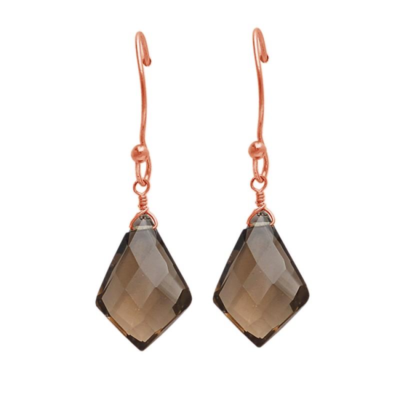 Fancy Shape Smoky Quartz Gemstone 925 Sterling Silver Gold Plated Dangle Earrings