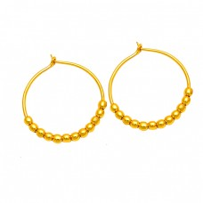 925 Sterling Silver Plain Handcrafted Designer Gold Plated Earrings
