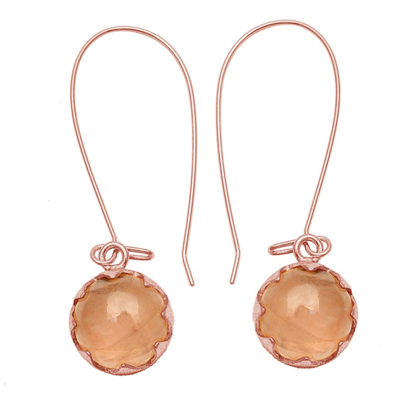 Rose Quartz Round Cabochon Gemstone 925 Sterling Silver Gold Plated Dangle Hoop Earrings
